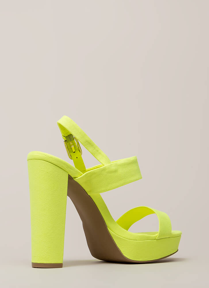 Dearly Beloved Chunky Platform Heels NEONYELLOW