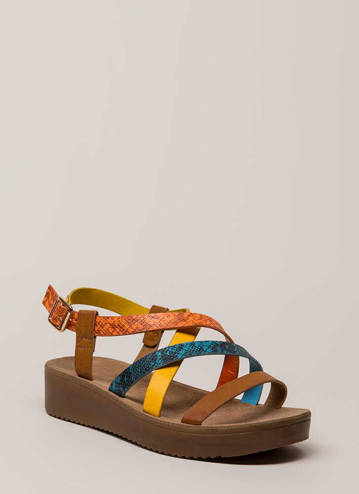 Snake Around Strappy Wedge Sandals TANMULTI (You Saved $15)
