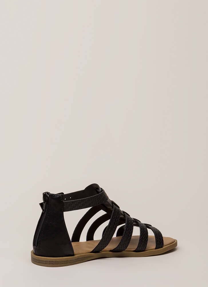 Strappy Place Caged Faux Woven Sandals BLACK