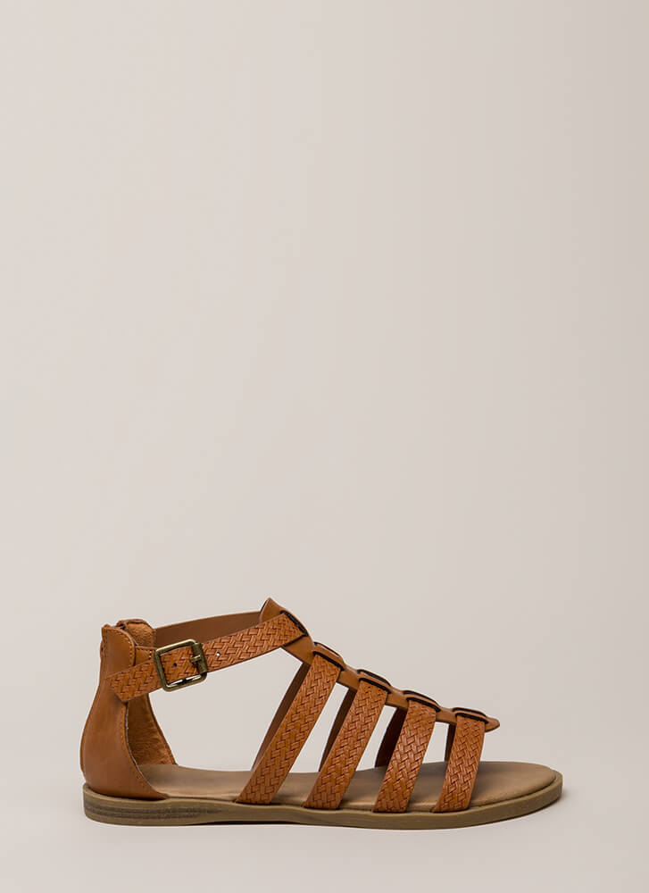 Strappy Place Caged Faux Woven Sandals TAN