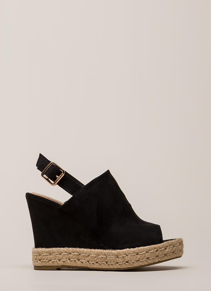 Vacation Time Jute Trim Peep-Toe Wedges BLACK