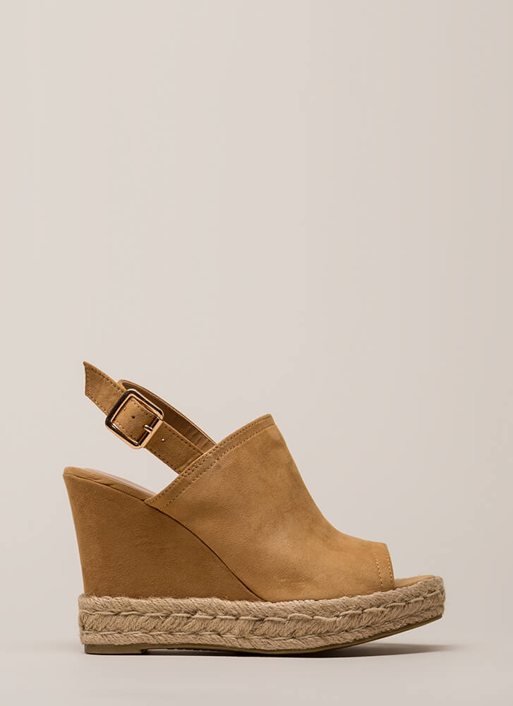 Vacation Time Jute Trim Peep-Toe Wedges TAN