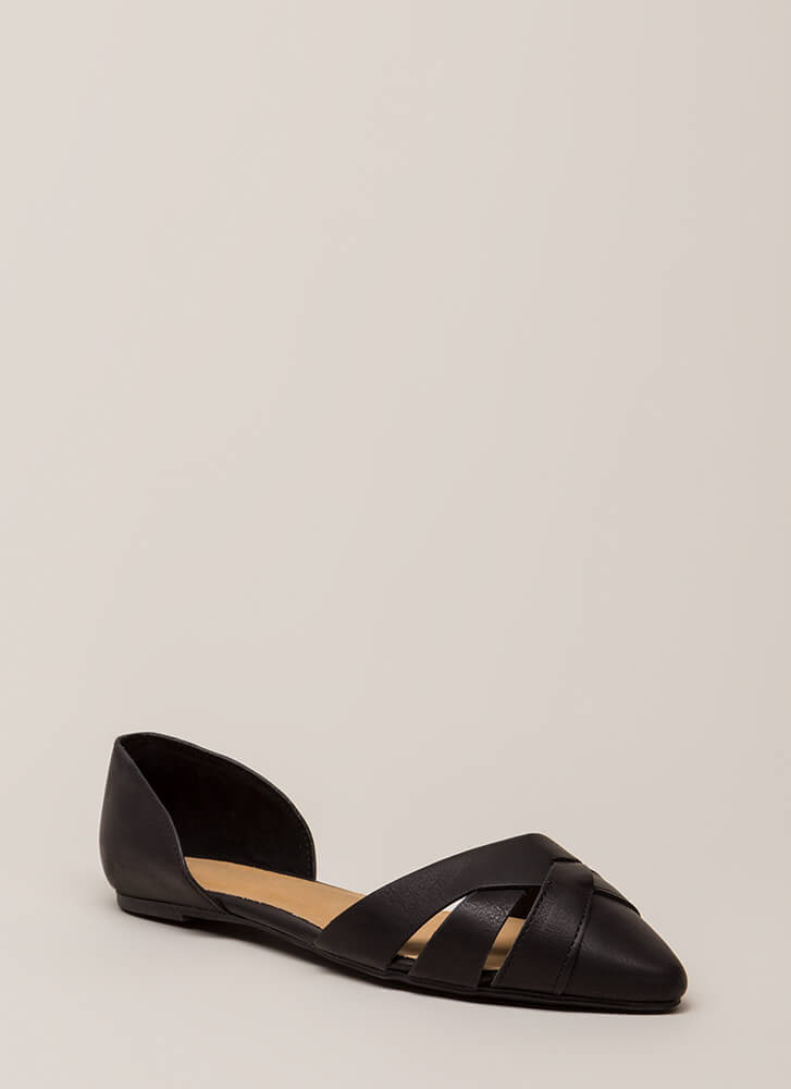 Start The Day Strappy D'Orsay Flats BLACK