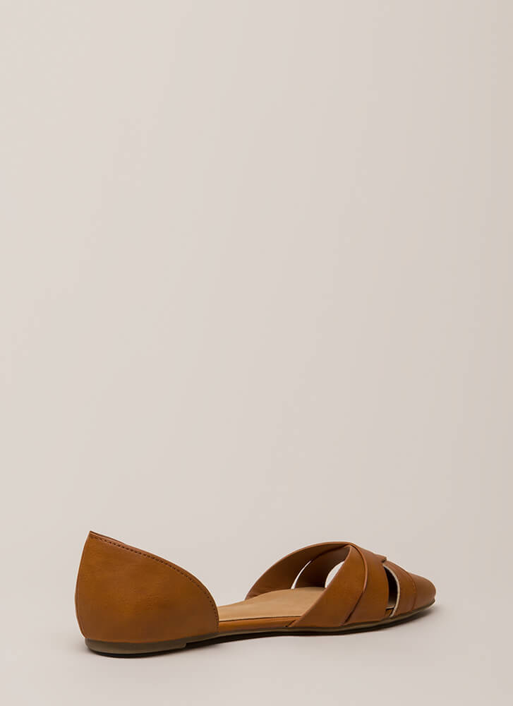 Start The Day Strappy D'Orsay Flats TAN