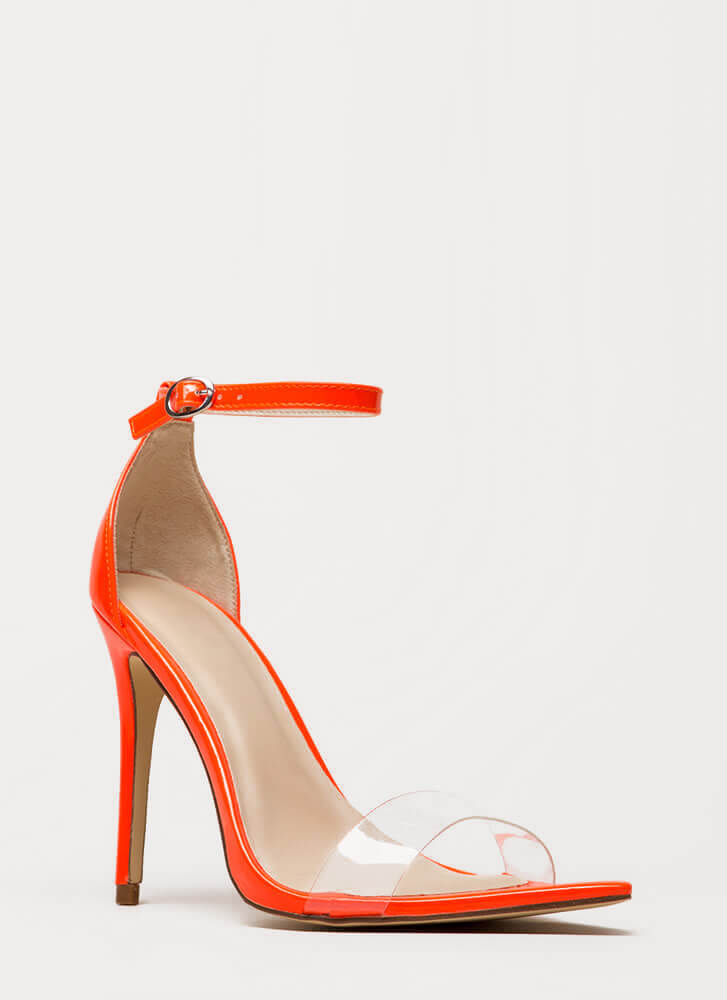 Make It Clear Ankle Strap Illusion Heels NEONORANGE