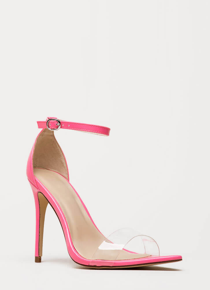 Make It Clear Ankle Strap Illusion Heels NEONPINK