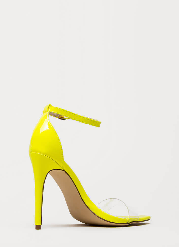 Make It Clear Ankle Strap Illusion Heels NEONYELLOW