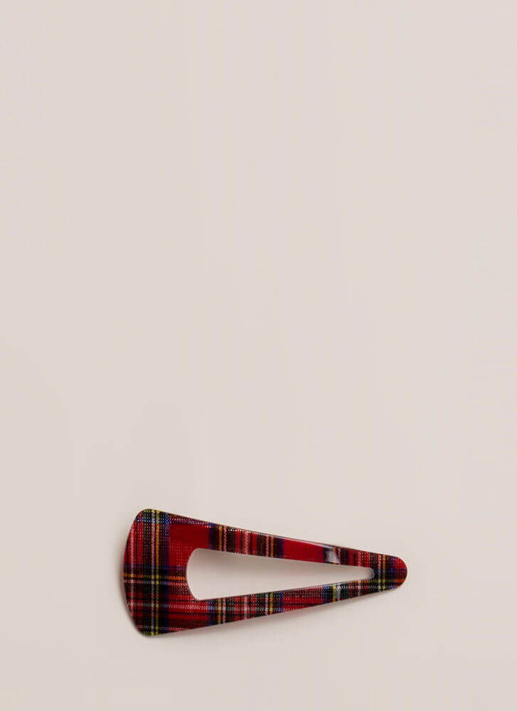 The Plaid Girls Club Oversized Hair Clip RED