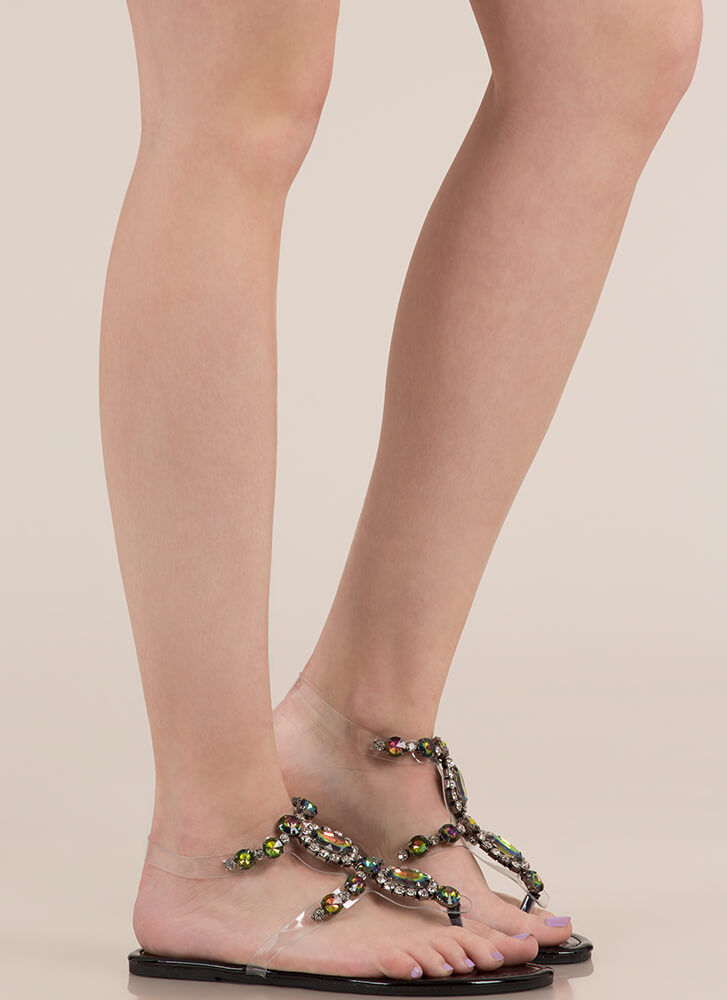 I Rule The Gem-pire Faux Jewel Sandals BLACK