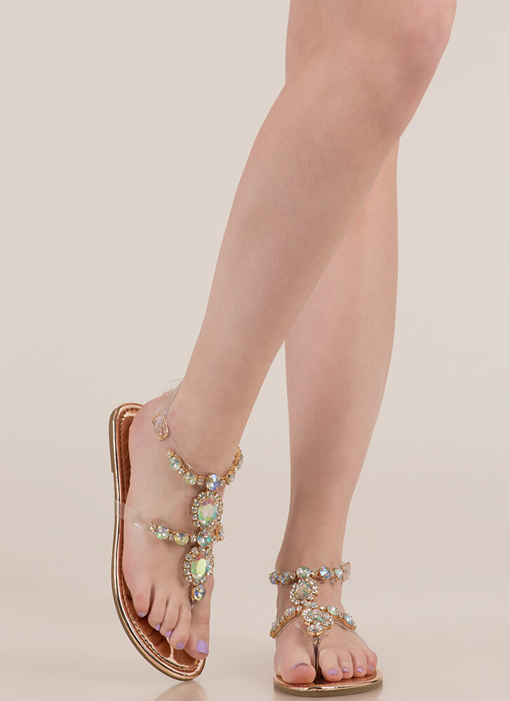 I Rule The Gem-pire Faux Jewel Sandals ROSEGOLD