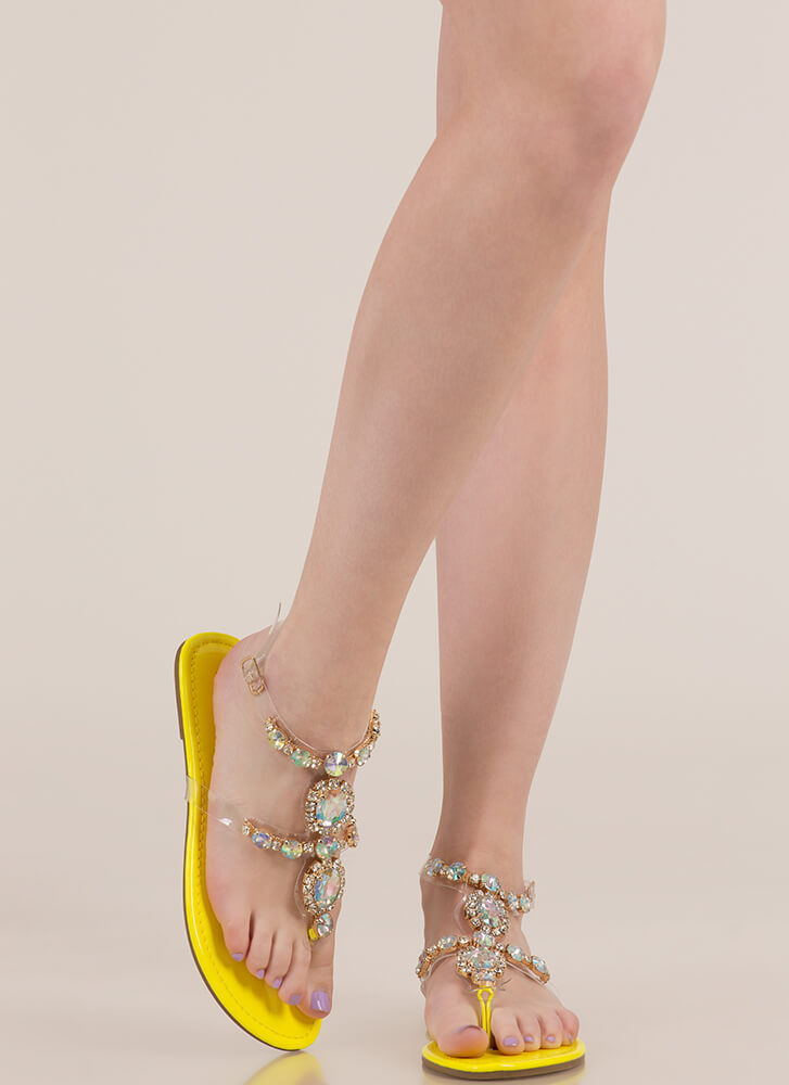 I Rule The Gem-pire Faux Jewel Sandals YELLOW