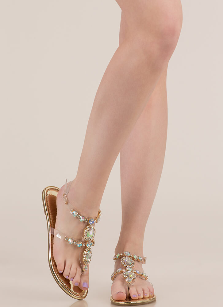 I Rule The Gem-pire Jeweled Sandals GOLD