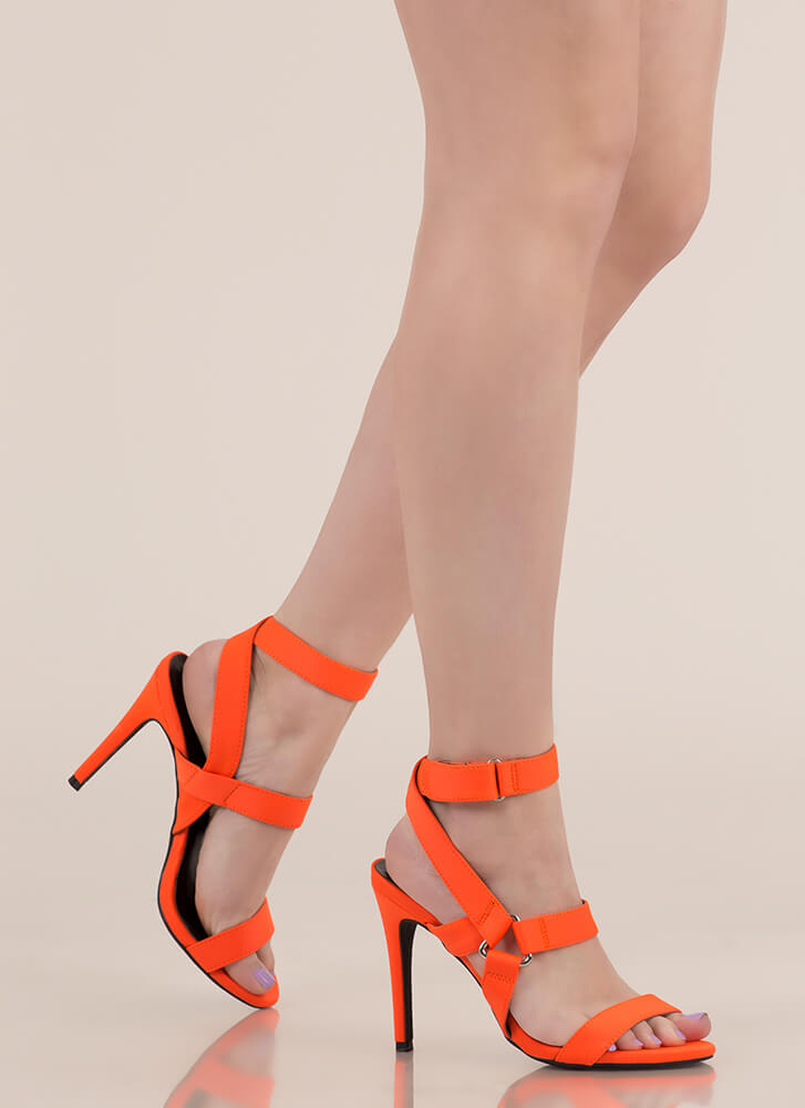 All Harnessed In Strappy Caged Heels NEONORANGE