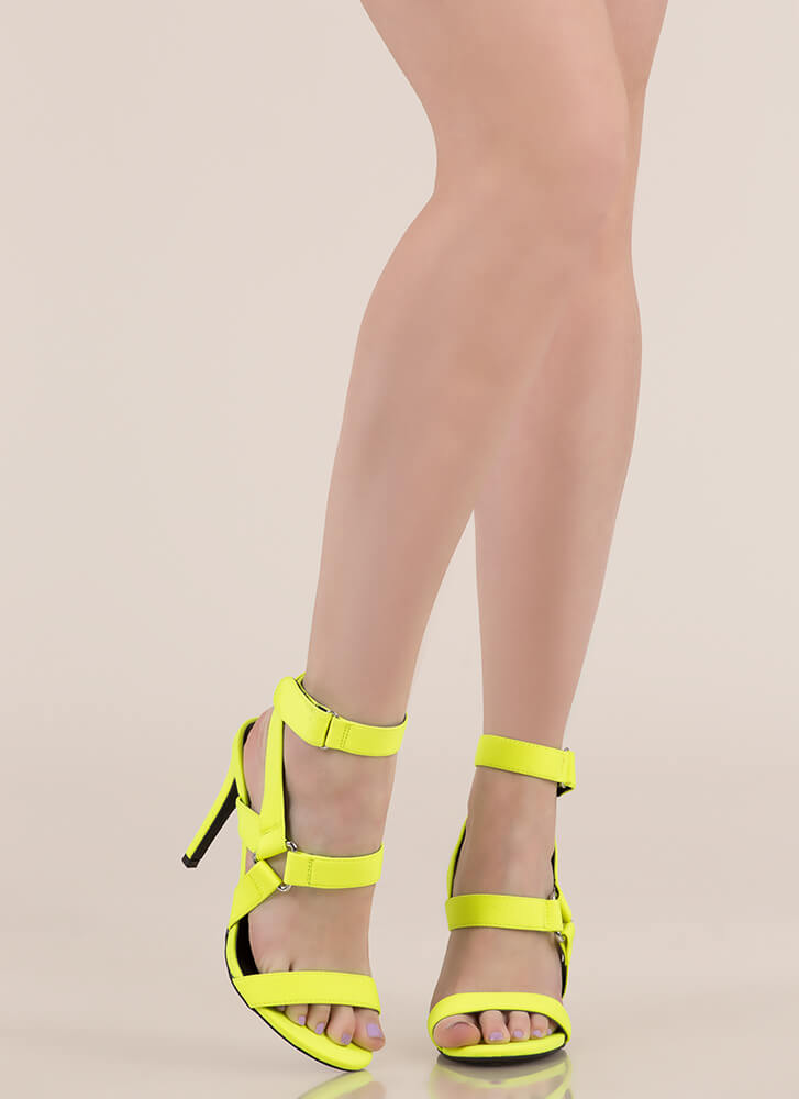 All Harnessed In Strappy Caged Heels NEONYELLOW
