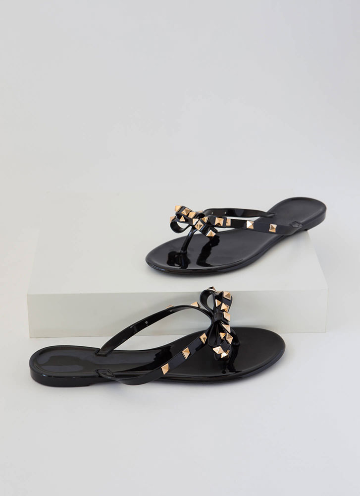 Bow Is Me Studded Jelly Thong Sandals BLACK