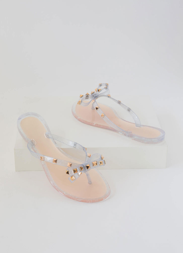 Bow Is Me Studded Jelly Thong Sandals NUDE