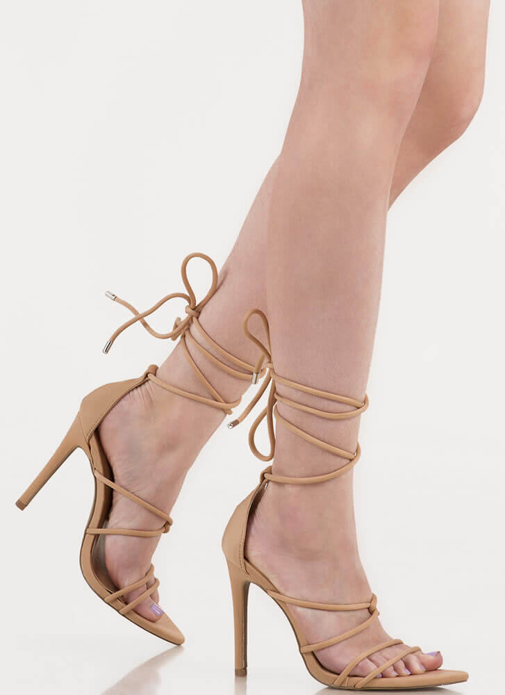 Jump In Feet First Strappy Lace-Up Heels NATURAL