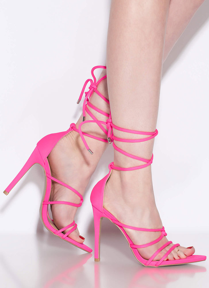Jump In Feet First Strappy Lace-Up Heels NEONPINK
