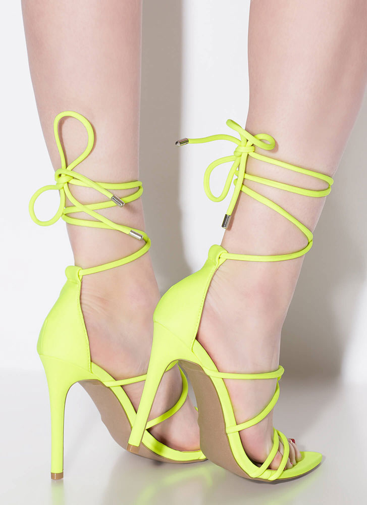 Jump In Feet First Strappy Lace-Up Heels NEONYELLOW