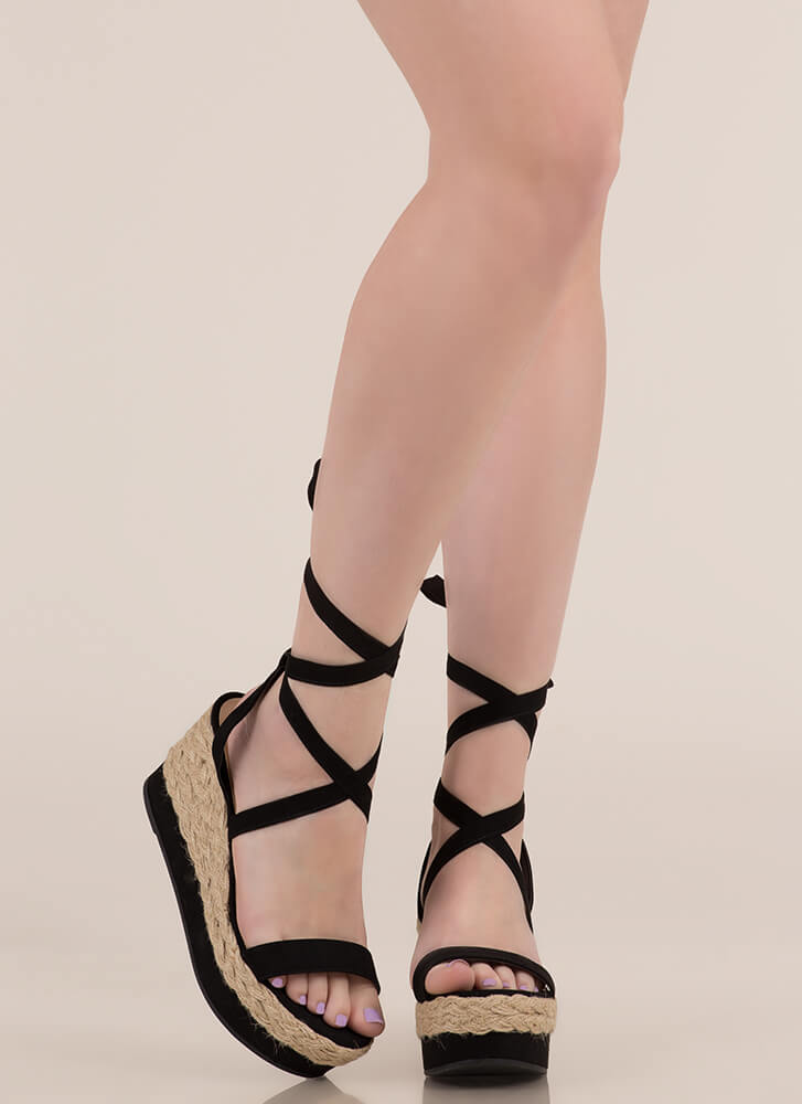 Braided Beauty Lace-Up Platform Wedges BLACK