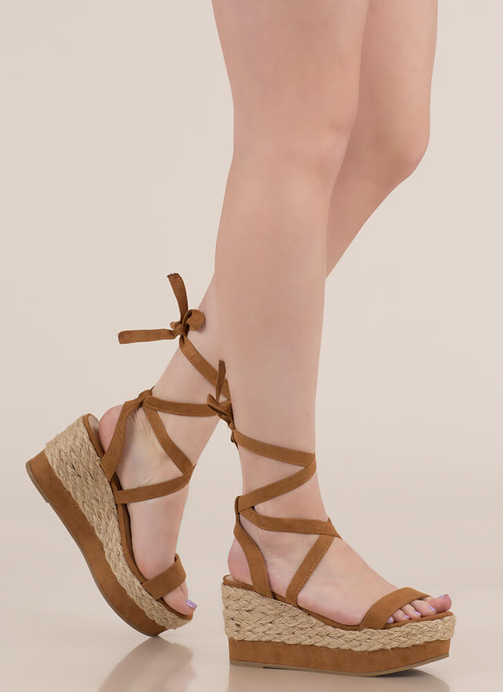 Braided Beauty Lace-Up Platform Wedges CHESTNUT