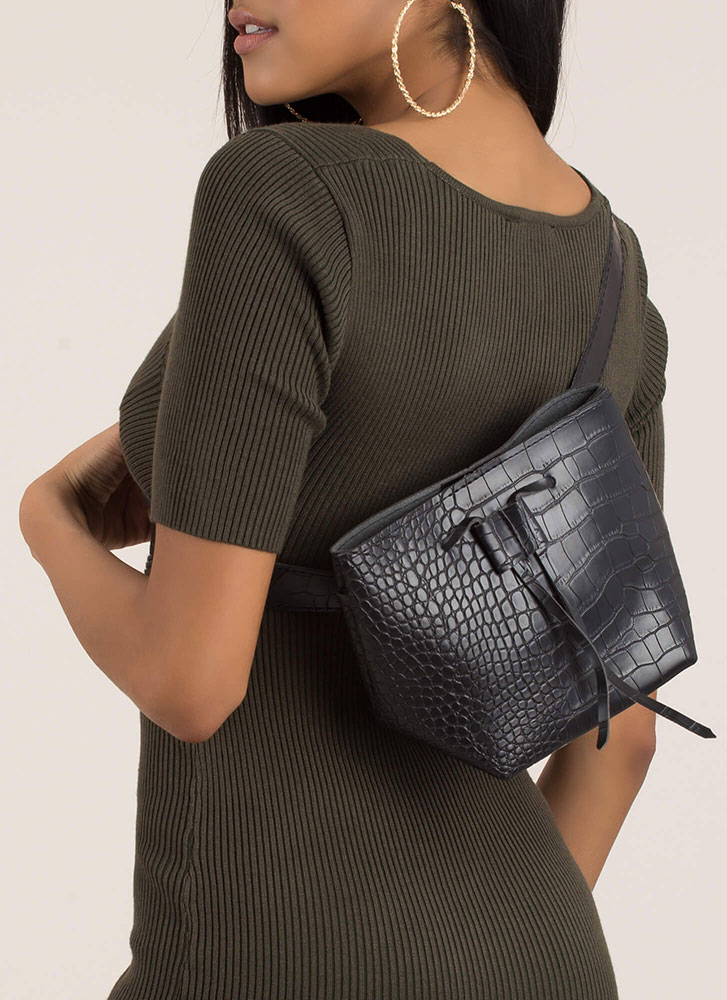 In A While Crocodile Belted Sling Bag BLACK