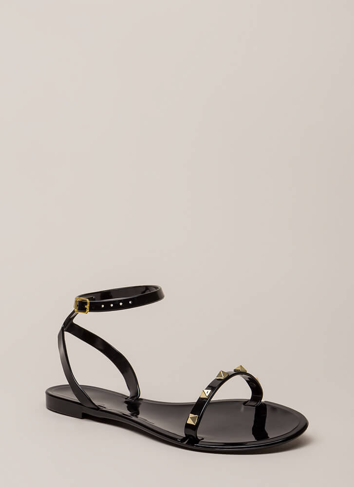 Total Stud Ankle Strap Jelly Sandals BLACK