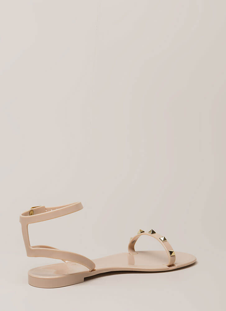 Total Stud Ankle Strap Jelly Sandals NUDE