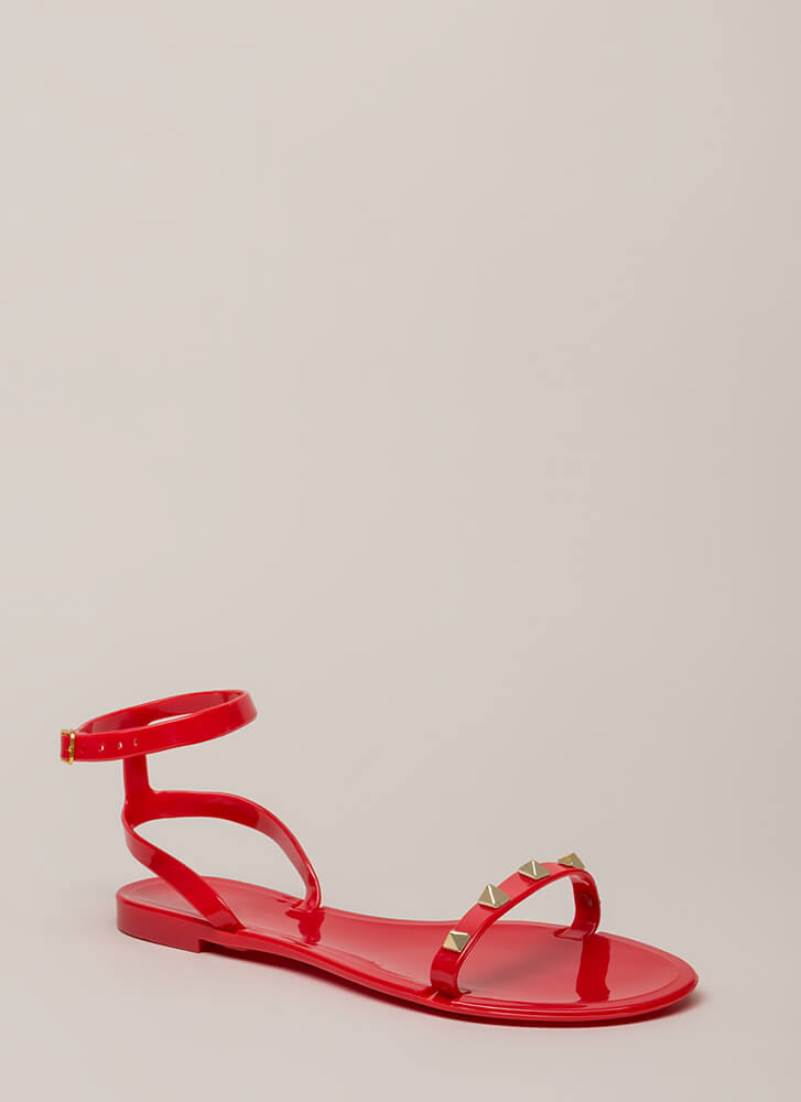 Total Stud Ankle Strap Jelly Sandals RED
