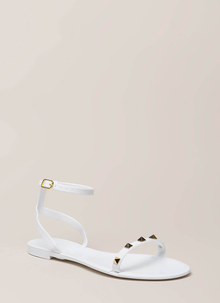 Total Stud Ankle Strap Jelly Sandals WHITE