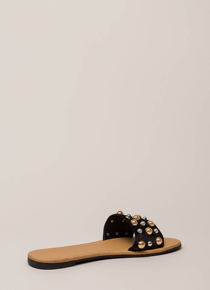 Blow Bubbles Velvet Slide Sandals BLACK