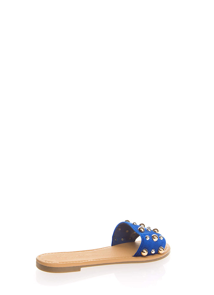 Blow Bubbles Velvet Slide Sandals BLUE