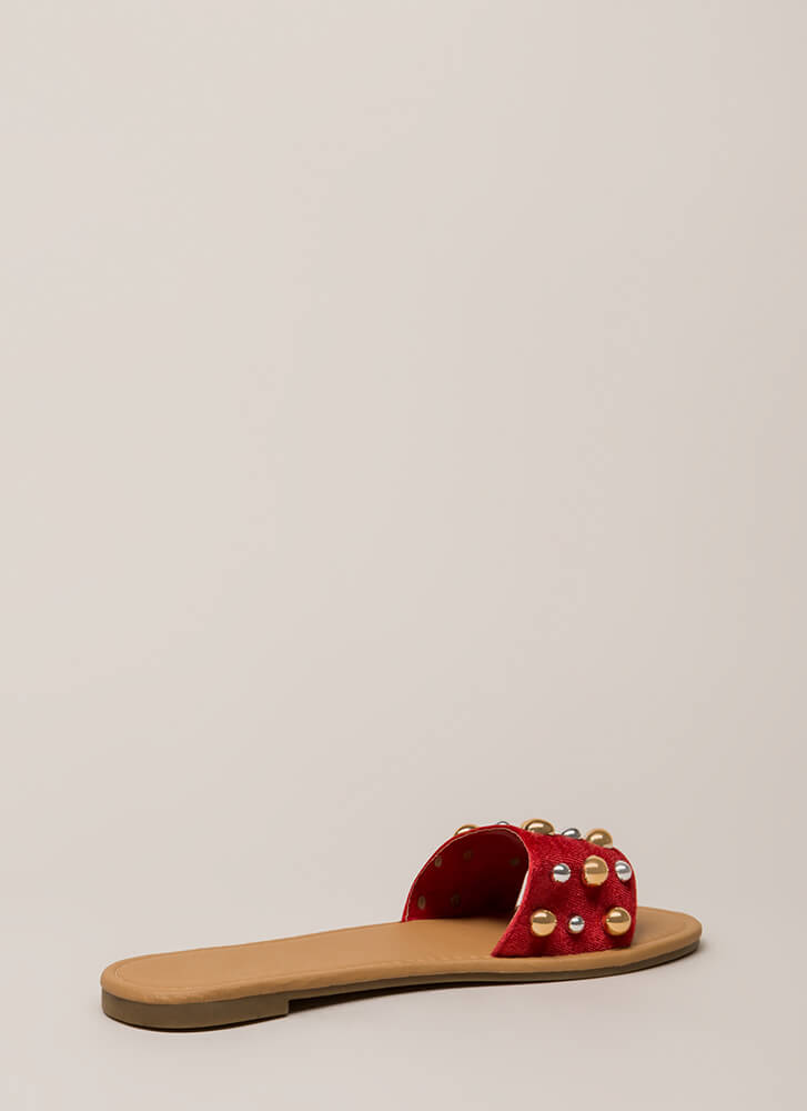 Blow Bubbles Velvet Slide Sandals RED