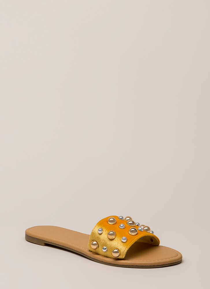 Blow Bubbles Velvet Slide Sandals YELLOW