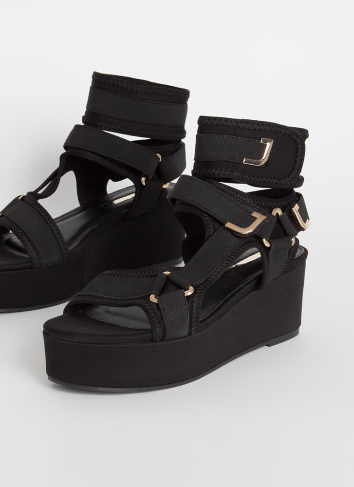 Band Mate Cut-Out Platform Wedge Sandals BLACK