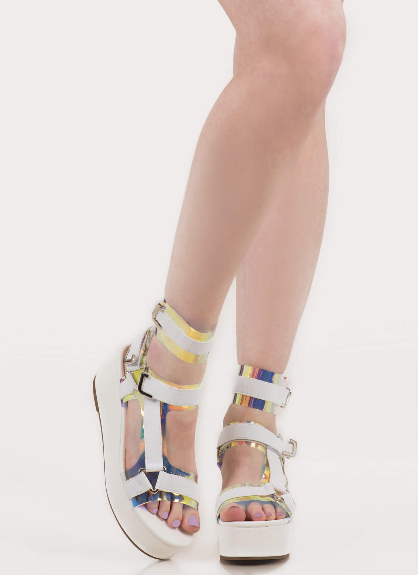 Band Mate Cut-Out Platform Wedges CLEAR