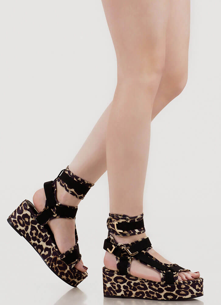 Band Mate Cut-Out Platform Wedge Sandals LEOPARD
