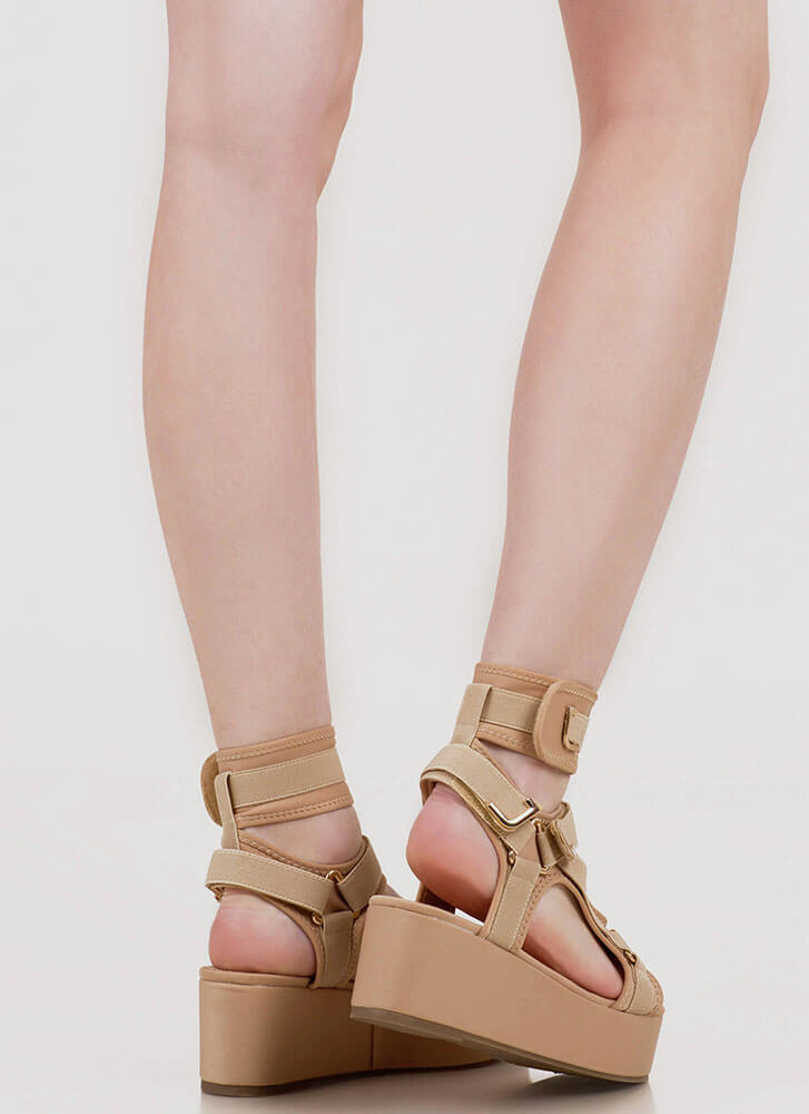 Band Mate Cut-Out Platform Wedge Sandals NUDE