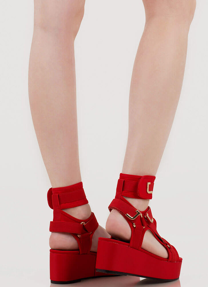 Band Mate Cut-Out Platform Wedge Sandals RED