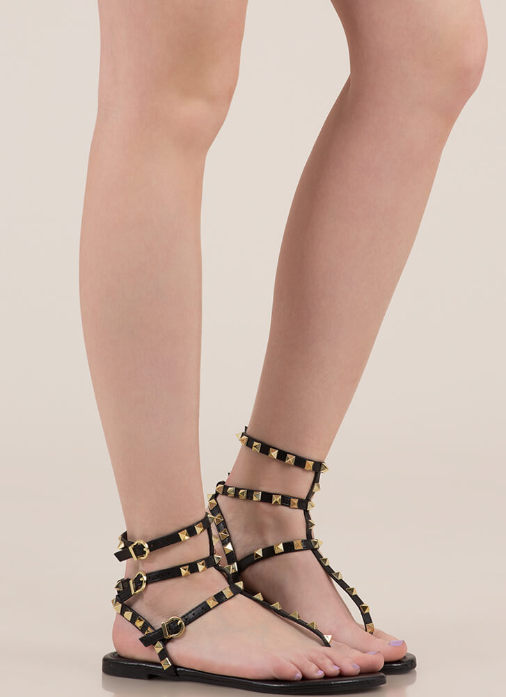 Hot Studs Strappy Caged Sandals BLACK