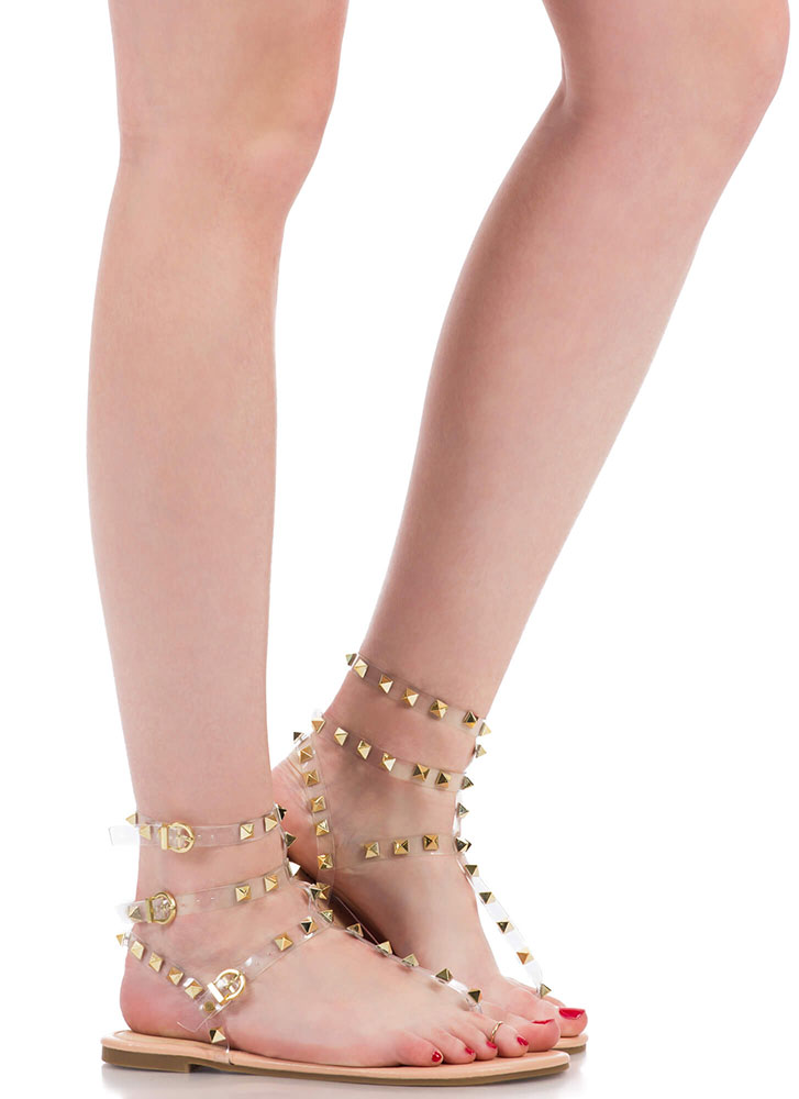Hot Studs Strappy Caged Sandals NUDE