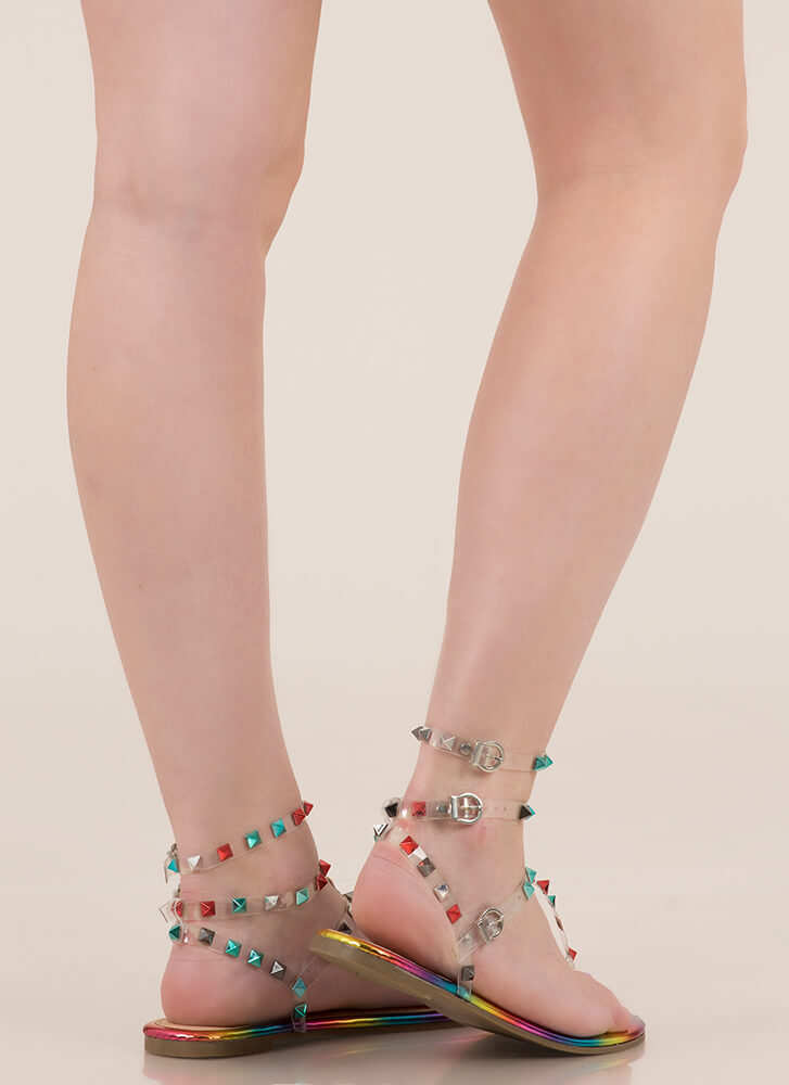 Hot Studs Strappy Caged Sandals RAINBOW