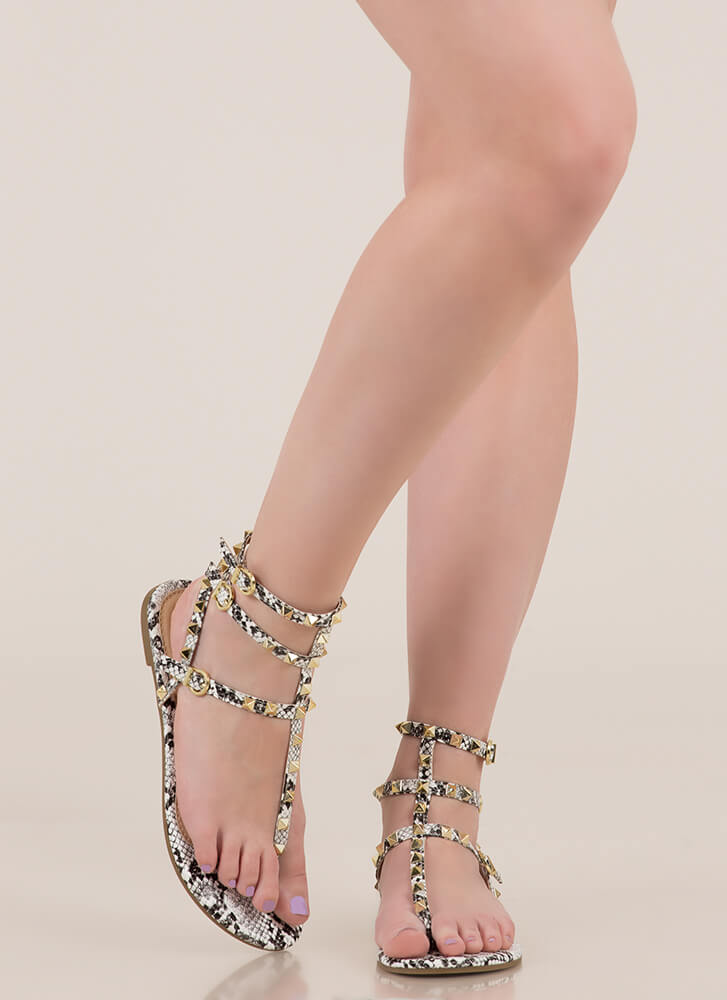 Hot Studs Strappy Caged Sandals SNAKE