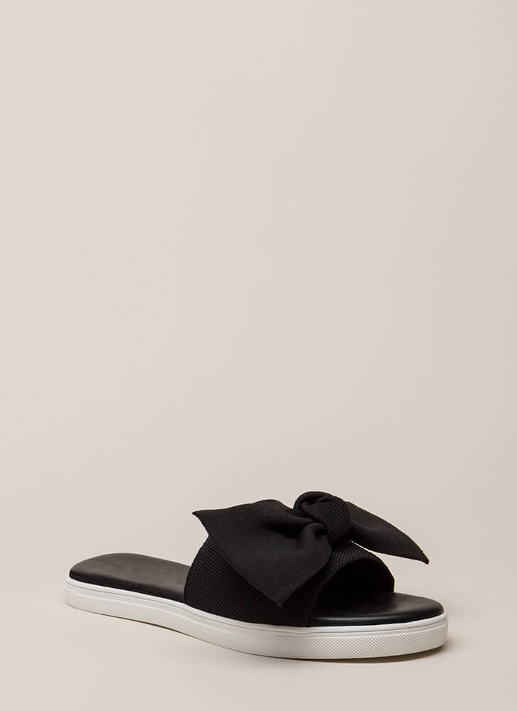 I Like Big Bows Platform Slide Sandals BLACK