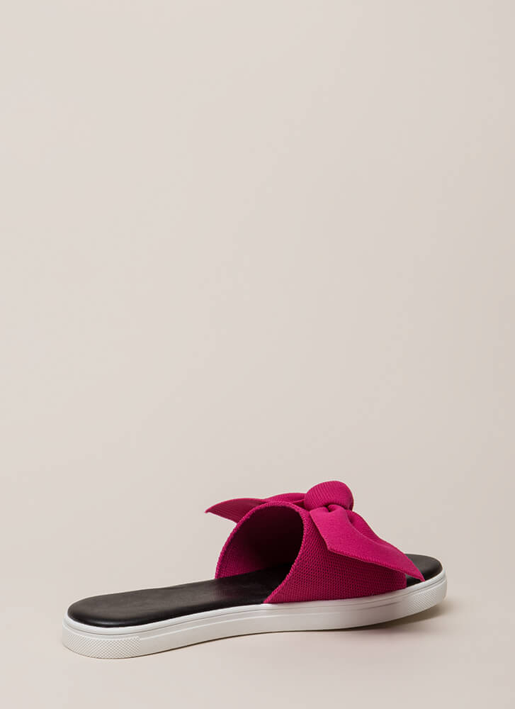 I Like Big Bows Platform Slide Sandals FUCHSIA
