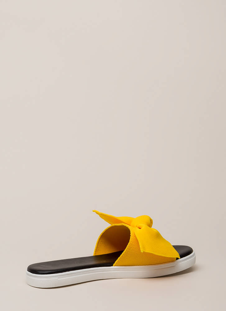 I Like Big Bows Platform Slide Sandals YELLOW