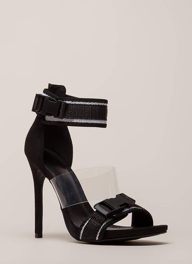 One Two Buckle My Clear Strappy Heels BLACK (Final Sale)