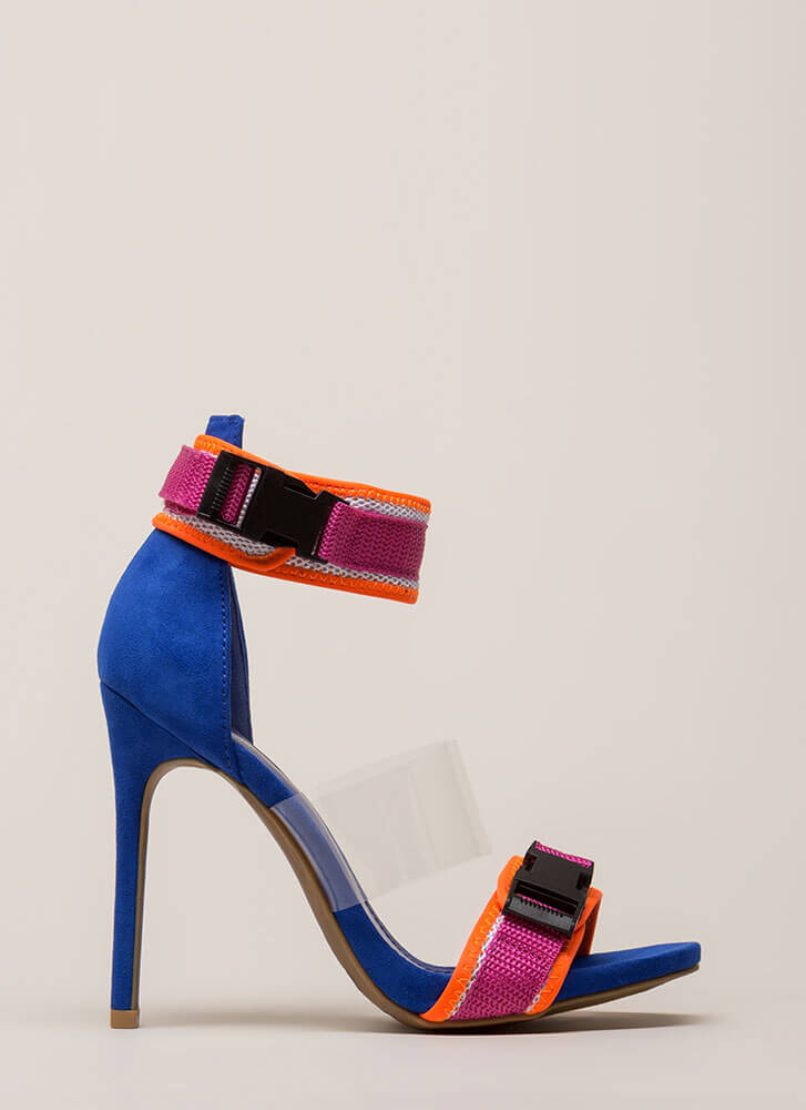 One Two Buckle My Clear Strappy Heels BLUE (Final Sale)