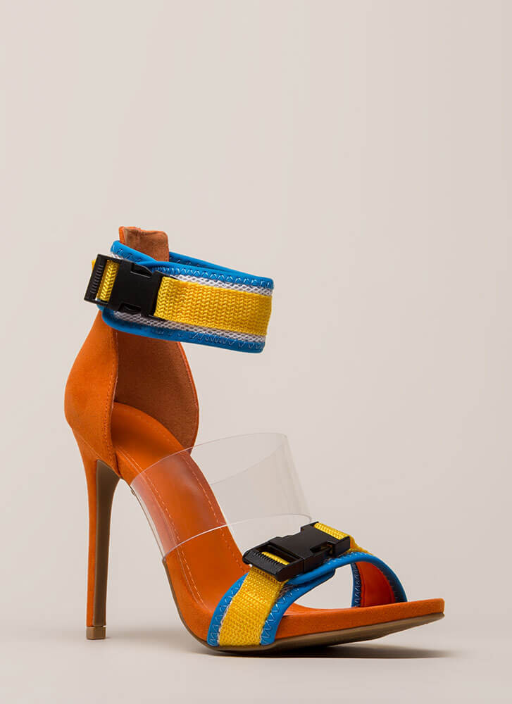 f2938b31d94 One Two Buckle My Clear Strappy Heels YELLOW BLACK ORANGE BLUE ...