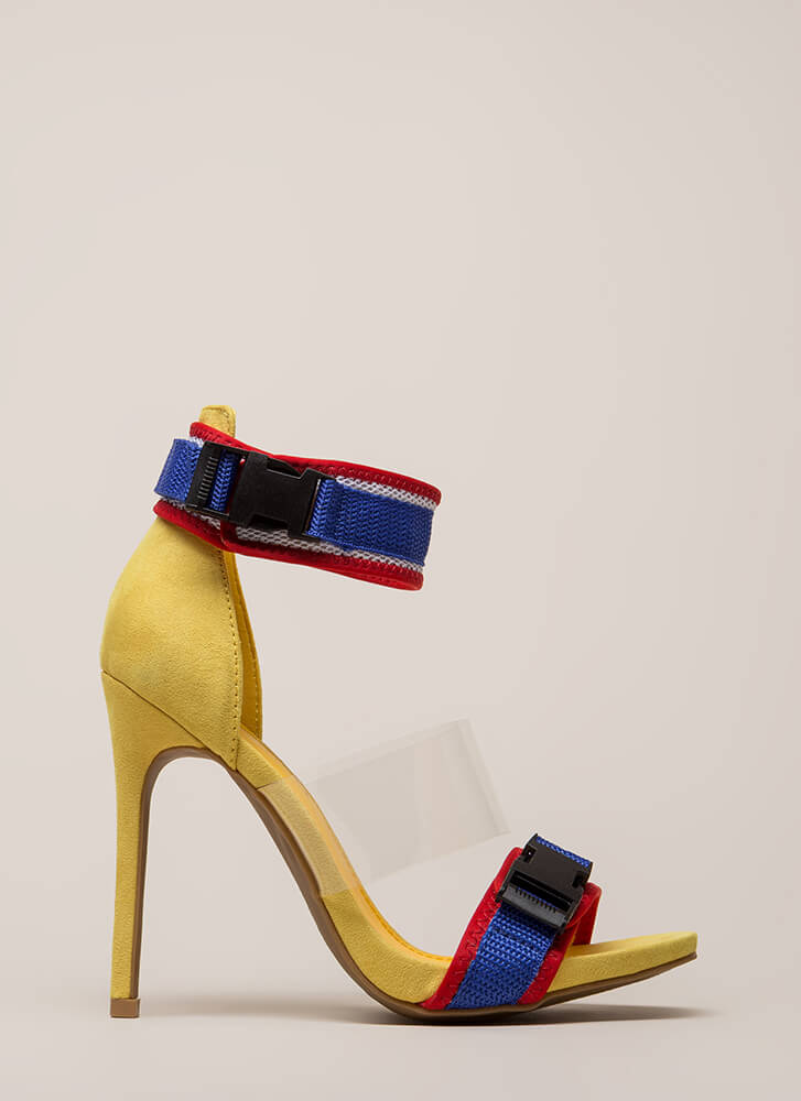 One Two Buckle My Clear Strappy Heels YELLOW (Final Sale)
